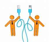 3d small people with patchcord.