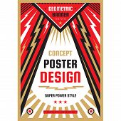 Vertical Art Poster Template In Heavy Power Style. National Patriotism Freedom Vertical Banner. Grap poster