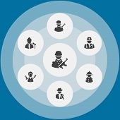 Set Of 7 Position Icons Set. Collection Of Reporter, Singer, Barber And Other Elements. poster