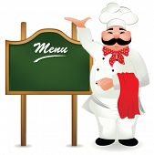 picture of chef cap  - chef with board for menu - JPG