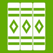 Three Literary Books Icon White Isolated On Green Background. Illustration poster