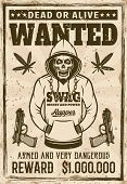 Rapper Gangster Skull In Hoodie Wanted Poster In Vintage Style Vector Illustration. Layered, Separat poster