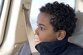 picture of seatbelt  - A young boy sitting in a car with his seatbelt buckled.