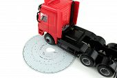 Analogue Tachograph card and truck