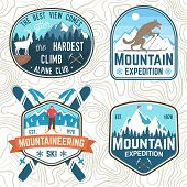 Set Of Mountain Expedition And Snowboard Club Patches. Vector. Concept For Shirt Or Badge, Print, St poster