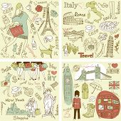 Italy, England, France and America - four wonderful collections of hand drawn doodles