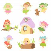 Cute Little Forest Fairies Set, Lovely Fairies Girls Cartoon Characters And Fairytale Fantasy House  poster
