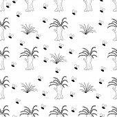 Pussy Willow Tree With Insects, The Marshland Scene, Hand Drawn Vector Repeat Seamless Pattern. Blac poster