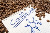Notebook With Text Title Caffeine And Painted Chemical Formula Of Caffeine Is Surrounded By Fried Re poster