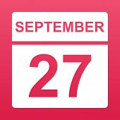 September 27. White Calendar On A  Colored Background. Day On The Calendar. Twenty Seventh Of  Septe poster