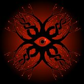stock photo of crip  - ornate pattern featuring a creepy eyeball and blood - JPG