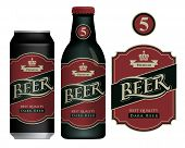 Vector Label For Dark Beer In Retro Style On A Dark Red Background, Decorated By Crown And Ribbon. S poster