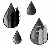 pic of oil rig  - Oil and gasoline symbols for refinery industry design - JPG
