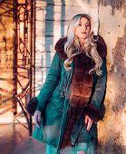 Fall Season Outfit. Modern Fashion Outfit. Autumn Season. Gorgeous Pretty Woman In Furry Coat Jacket poster