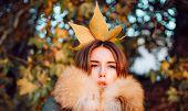 Woman Feeling As Autumn Queen. Fall Season Outfit. Modern Fashion Outfit. Autumn Season. Gorgeous Pr poster