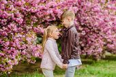 Love Is In The Air. Tender Love Feelings. Little Girl And Boy. Romantic Date In Park. Spring Time To poster