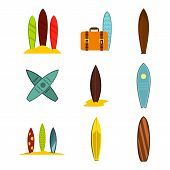 Surf Board Icon Set. Flat Set Of Surf Board Icons For Web Design Isolated On White Background poster