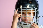 Hockey Or Rugby Helmet. Sport Childhood. Future Sport Star. Sport Upbringing And Career. Boy Cute Ch poster