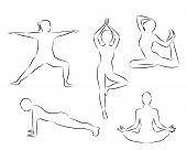 Women Doing Yoga Excercises Silhouettes Outline Vector Illustration On A White Background Isolated.  poster