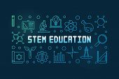 Stem Education Vector Colorful Concept Linear Horizontal Illustration Or Banner On Dark Background poster