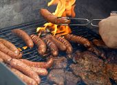 Close Up Of Grilled Meat And Sausage