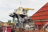 Dredger For Absorption Of Trailer Bunker During Work On Land Reclamation For New Ports. Suction Dred poster