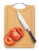 tomato cuted segment with knife on hardboard vector illustration isolated on white background gradient mesh used EPS10. Transparent objects used for shadows and lights drawing