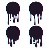 Set Of Dripping Circle Paint With Glitch Effect. Paint Drip Stickers Or Circle Labels. Ink Drop Spla poster
