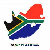 South Africa, Map With Flag, Isolated On White, Clipping Path
