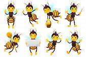 Cartoon Bee Mascot. Cute Honeybee, Flying Bees And Happy Funny Yellow Bee Character Mascots Vector I poster