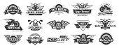 Biker Club Emblems. Retro Motorcycle Rider Badges, Moto Sports Emblem And Motorbike Silhouette Badge poster
