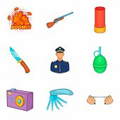 Home Guard Icons Set. Cartoon Set Of 9 Home Guard Icons For Web Isolated On White Background poster