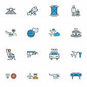 Airport Icons Colored Line Set With Video Control, Airport Worker, Helicopter And Other Chaise Eleme poster