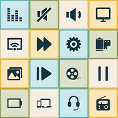 Multimedia Icons Set With Wifi, Display, Sound Off And Other Gear Elements. Isolated  Illustration M poster