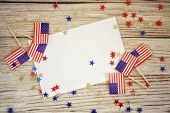 Happy Independence Day 4th July Mockup With Mini American Flag Decorated With Stars And Confetti. To poster