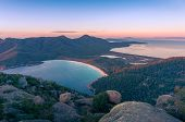 Sunrise Landscape Of Beautiful Bay And Mountains. Wineglass Bay In Freycinet National Park, Tasmania poster