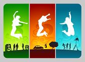 funky active people on colorful grunge background.
