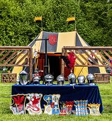 Knight Helms   Mediaeval 15th Century  Lined Up For Display poster