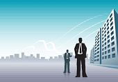 Businessmen and buildings with copy space.