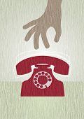 Retro Telephone. Vector grunge telephone illustration. All elements are group and seperated layers.
