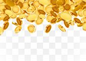 Falling Coins, Falling Money, Flying Gold Coins, Golden Rain On Transparent Background. Jackpot Or S poster