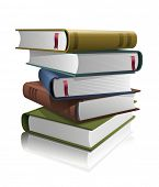 Stack of books. Vector illustration. All books are layered separately in vector file.