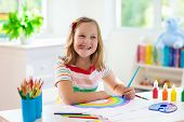 Kids Paint. Child Painting. Little Girl Drawing. poster