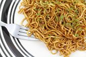 Chow Mein Noodles On Plate With Fork