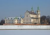 stock photo of stanislaus church  - Skalka Sanctuary and frozen Vistula river in Cracow Poland - JPG