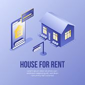 Digital Isometric Design Concept Scene Of House Rent Online Service App 3d Icons.isometric Business  poster