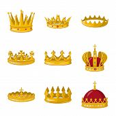 Vector Illustration Of Monarchy And Gold Sign. Collection Of Monarchy And Heraldic Vector Icon For S poster