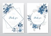 Set Of Beautiful Blue Watercolor Florals Card. Decorative Floral Greeting Card, Wedding Or Invitatio poster