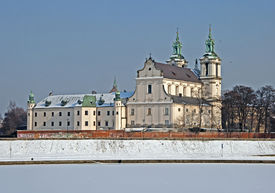 foto of stanislaus church  - Skalka Sanctuary and frozen Vistula river in Cracow Poland - JPG