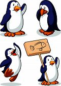 Penguin In Several Poses - Happy, Sad, Jumping & Holding Sign